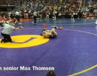 Max Thomsen pins Wyatt Rhoads in 2-A opener