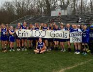 Erin Green of the Sterling High School girl's lacrosse team scored 100th career goal