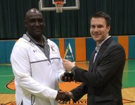 Blanche Ely coach Melvin Randall accepts ALL-USA Boys Basketball Coach of the Year trophy