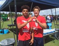 """Nick Bosa and Trevon Grimes, two of nation's top recruits, are throwing up the Ohio State """"O"""" at camp"""