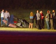 Two die when plane crashes across from stadium while game is ongoing
