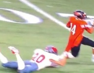 VIDEO: Texas WR drags DB with jersey en route to end zone