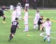 VIDEO: Virginia soccer player passes to himself for bicycle kick goal in downpour