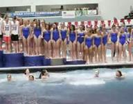 Carmel girls swim team celebrates with dip in the pool