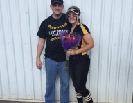 Military dad surprises daughter, who then responds with a home run
