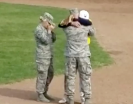 Dad, sister surprise Ohio baseball player in military homecoming