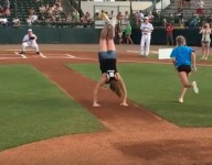 VIDEO: Florida gymnast delivers flip-flopping first pitch at minor league game