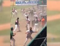 VIDEO: Minor league baseball teams engage in crazy brawl in front of 100s of kids on Camp Day