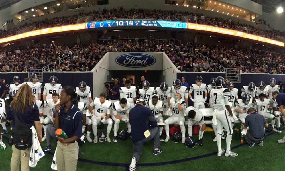 Frisco Lone Star routed crosstown rival Heritage in the teams' season opener at The Star, the Cowboys' new facility in Frisco (Photo: Twitter)