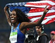 Ashley Spencer surges to earn bronze in hurdles