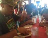 Hungry for a title: CVHS player wins noodle-eating challenge