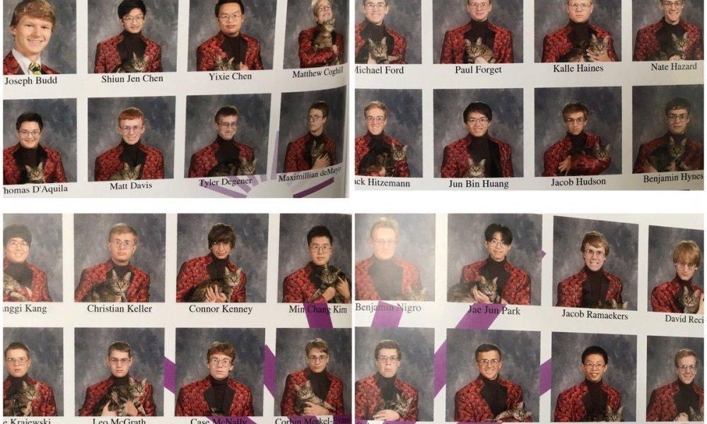 The entire Mount Michael Benedictine senior class dressed up for senior photos as Faux Pelini (Photo: Twitter)