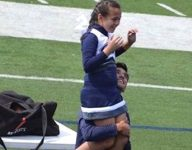 San Antonio teen jumps onto field as fill-in for cheerleader's military father