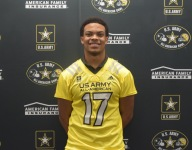 Defensive force Earnest Brown IV receives Army All-American jersey