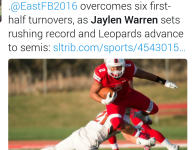 East (Salt Lake City) sets Utah record for rushing yards, total yards in a season
