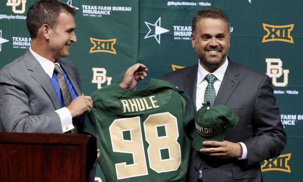 Baylor AD Mack Rhoades and new football coach Matt Rhule (Photo: Rod Aydelotte/Waco Tribune Herald via AP)
