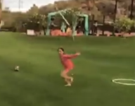 VIDEO: A-Rod's daughter has a mean bat flip game