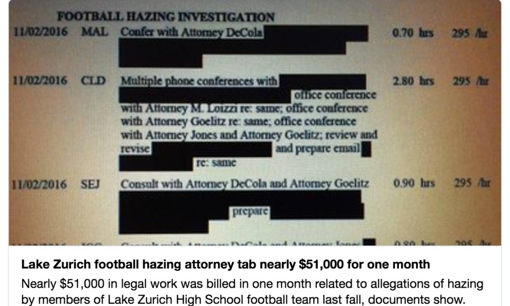 The Lake Zurich hazing case reportedly cost the district nearly $51,000 in the month of November alone (Photo: Twitter screen shot)