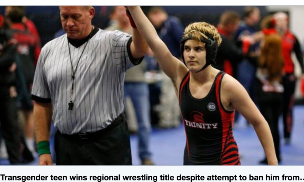 Texas transgender teen Mack Beggs won a regional girls wrestling title when a would-be finalist forfeited rather than wrestle against him (Photo: Twitter screen shot)