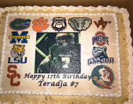 Five-star Teradja Mitchell announces finalists with his birthday cake