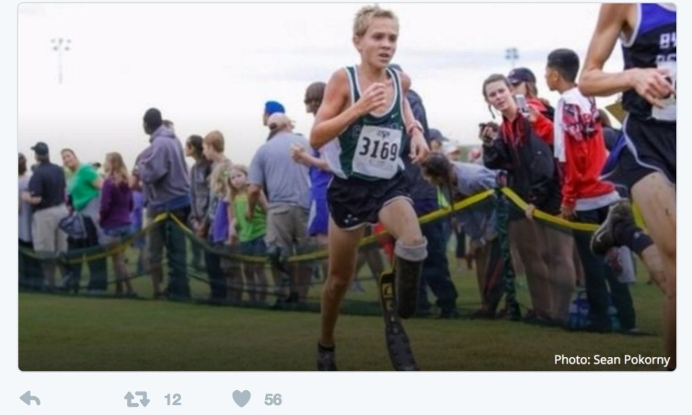 Southlake Carroll T44 paralympian Chris Tracht will attempt to break the 1,500 meter world record for his condition (Photo: Twitter screen shot)