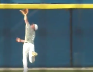 VIDEO: North Hall (Ga.) OF Dylan Lavender makes terrific catch at wall in state playoff game