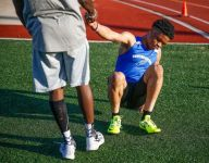 Ind. sprinter Noah Malone running toward a finish line he can't see