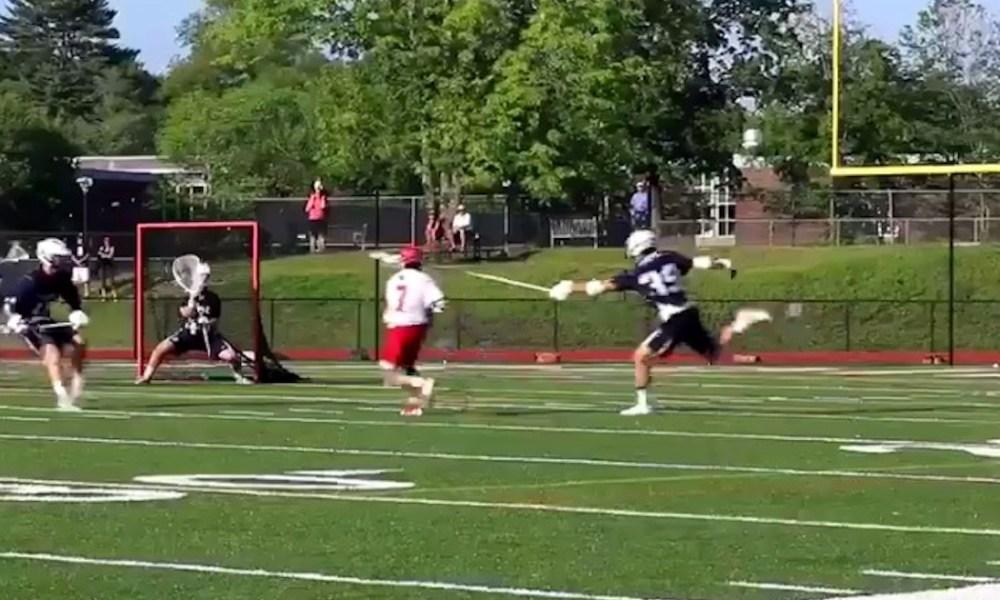 Greenwich's Matt Baugher scored a buzzer-beating goal to eliminate Staples from the Connecticut state playoffs (Photo: Twitter screen shot)