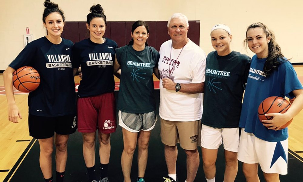 Braintree girls basketball coach Kristen McDonnell with current and former players and legendary St. Anthony's coach Bob Hurley (Photo: Twitter screen shot)