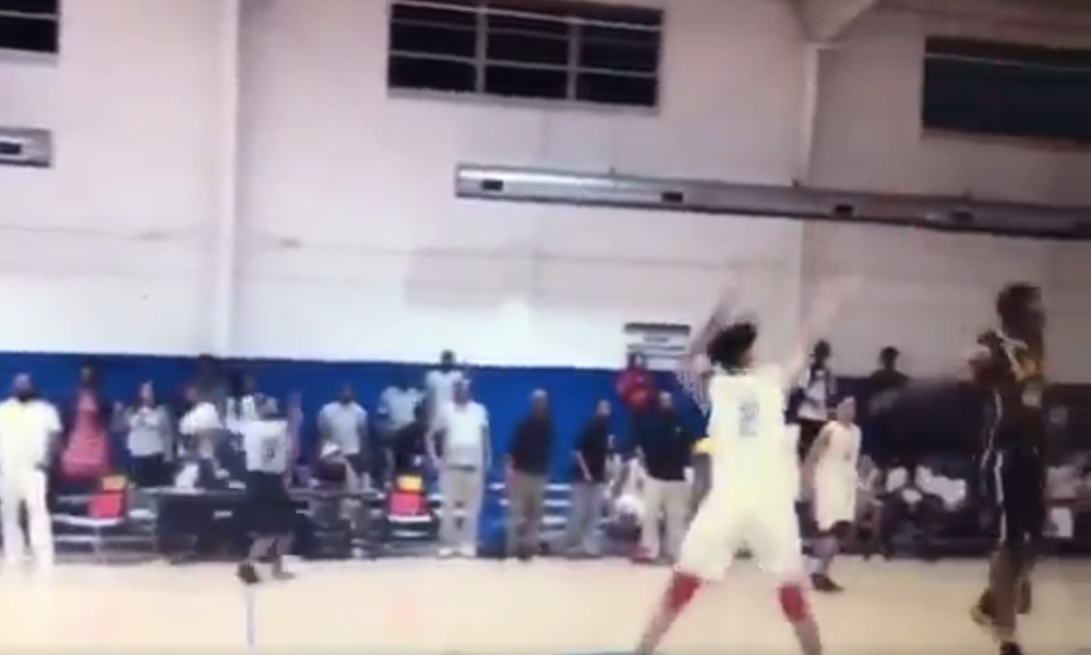 Team CP3 guard Jacobi Wright drained a game-winning three from half-court at the Nike EYBL Peach Jam (Photo: Twitter screen shot)