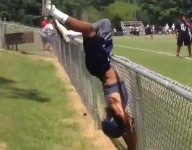 VIDEO: This wide receiver meets fence during 7-on-7 game
