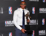 VIDEO: Russell Westbrook makes halfcourt shot to delight of kids at his basketball camp