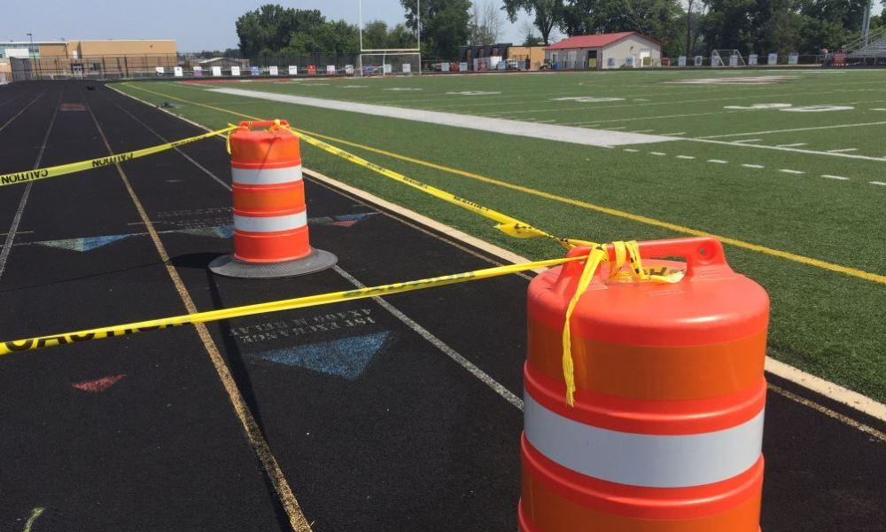 Lakeshore's football field was vandalized (Photo: Twitter screen shot)