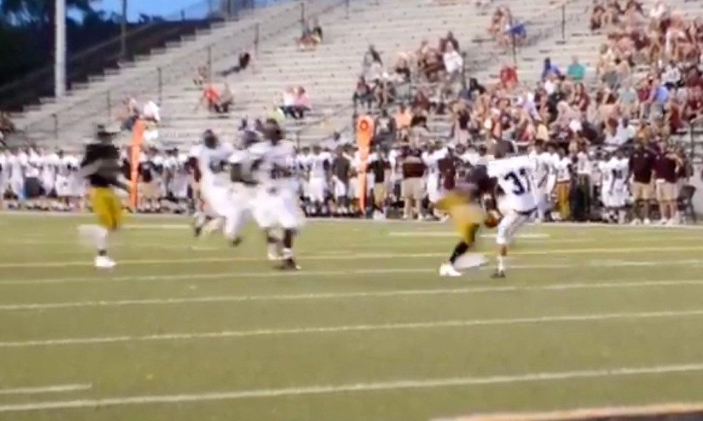 Jay Ward scored on a bobbled ball of a major hit in a preseason scrimmage for Colquitt County (Photo: Twitter screen shot)