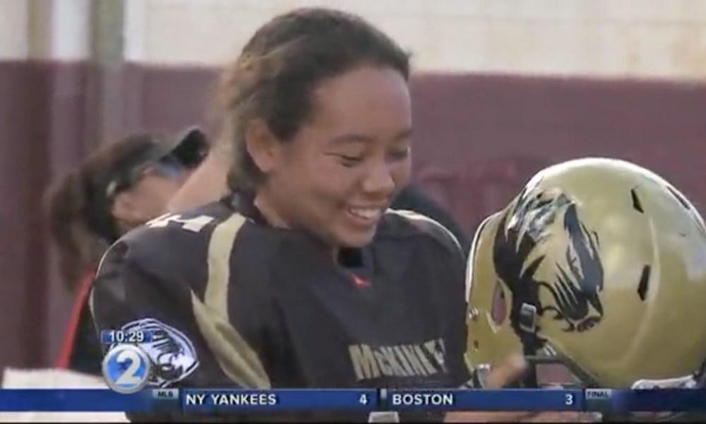 McKinley (Hi.) quarterback Alexandria Buchanan (KRON video screen shot)