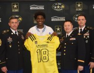 Owasso (Okla.) safety Josh Proctor, an Ohio State commit, gets his Army Bowl jersey