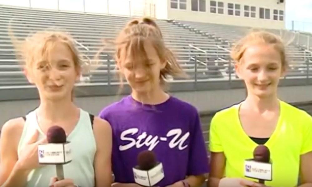 The Malecek triplets from the Onalaska cross country team (Photo: YouTube screen shot)
