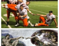 Seattle Eastside Catholic's offensive line celebrates win with poses that are a work of art