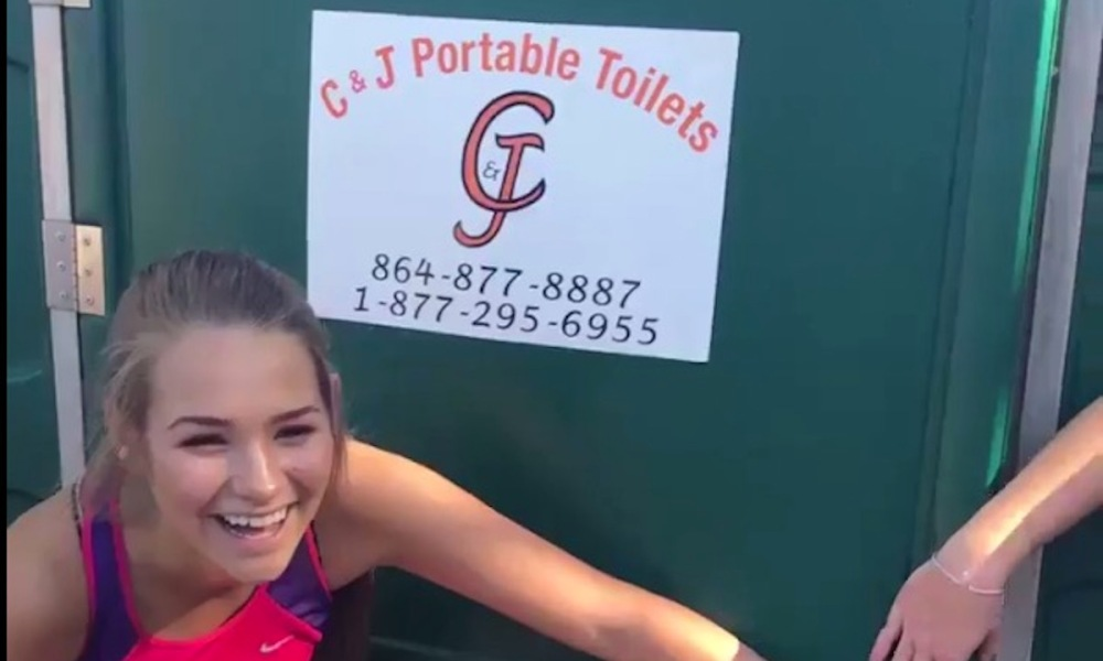 The Riverside cross country team fit 40 runners in a porta potty (Photo: Twitter screen shot)