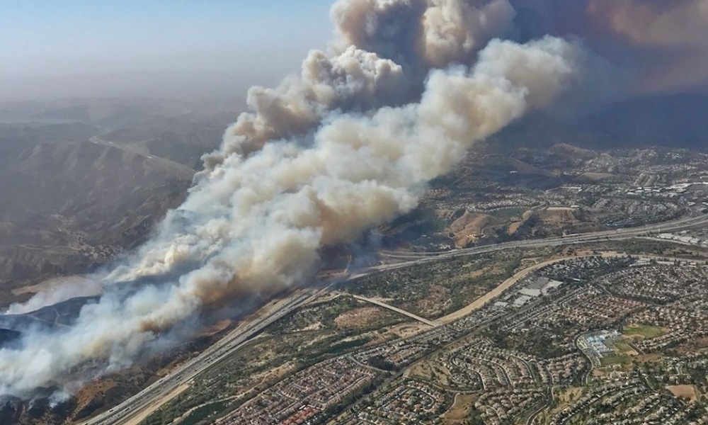 Canyon Fire 2 led to sports cancellations across Southern California on Monday (Photo: Twitter screen shot)