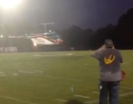 Watch a Louisiana game ball make a full helicopter entrance