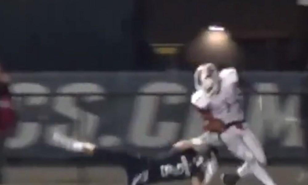Blue Smith steals away a game-winning catch for Huber Heights Wayne (Photo: Twitter screen shot)