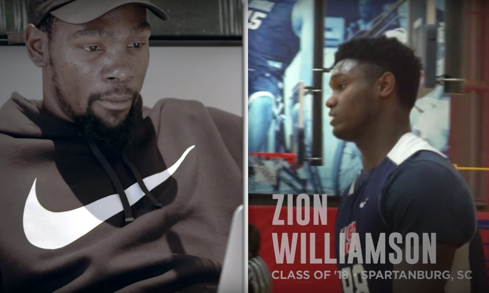 Kevin Durant watches highlights of high school stars (Photo: Kevin Durant/YouTube)