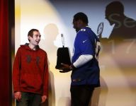 Giants DE Jason Pierre-Paul presents Heart of a Giant award to NJ teen battling cancer