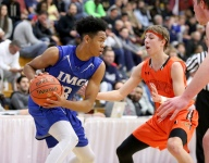 Vermont Academy's Tyler Bertram last second three rattles out in 81-78 loss to Anfernee Simons' IMG Academy