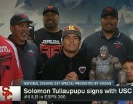 ALL-USA Defensive Player of the Year Solomon Tuliaupupu commits to USC with King Kong statue