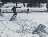 Track team in snowbound Upper Peninsula of Michigan resorts to first-ever snow meet to get some action