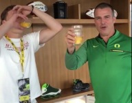 VIDEO: New Oregon QB commit Cale Millen celebrates by chugging raw eggs with head coach Mario Cristobal