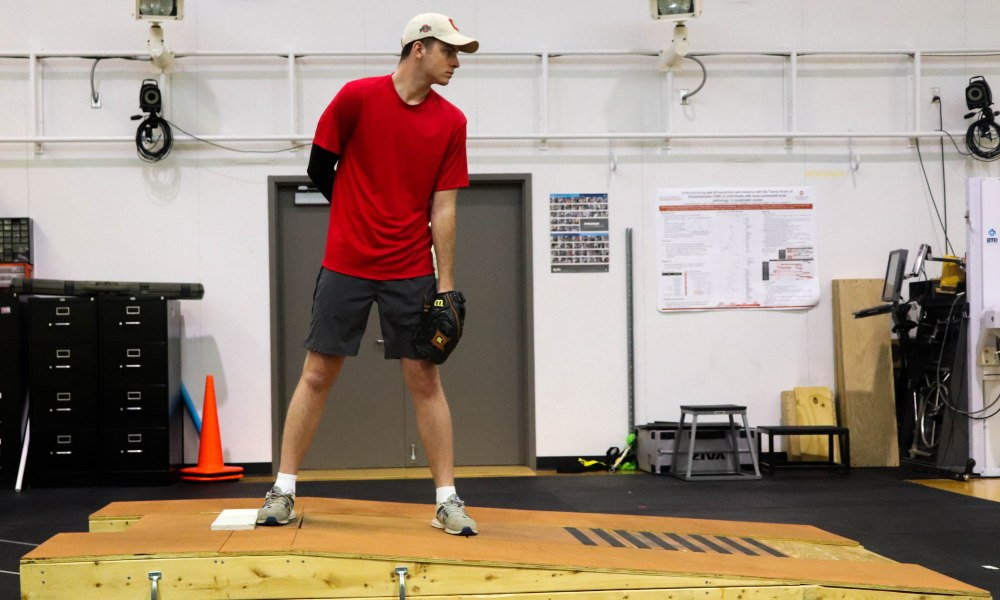 In a new study at The Ohio State University Wexner Medical Center, researchers developed a high-tech mound that measures the amount of force being driven by the legs, trunk and arms when a pitcher throws a baseball. Photo: The Ohio State University Wexner Medical Center