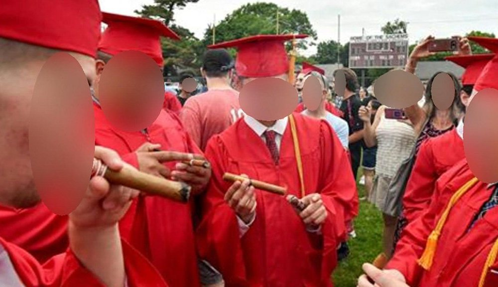 Six Saugus lacrosse players were suspended from the postseason for smoking a cigar (Photo: @wbz/Twitter screen shot)